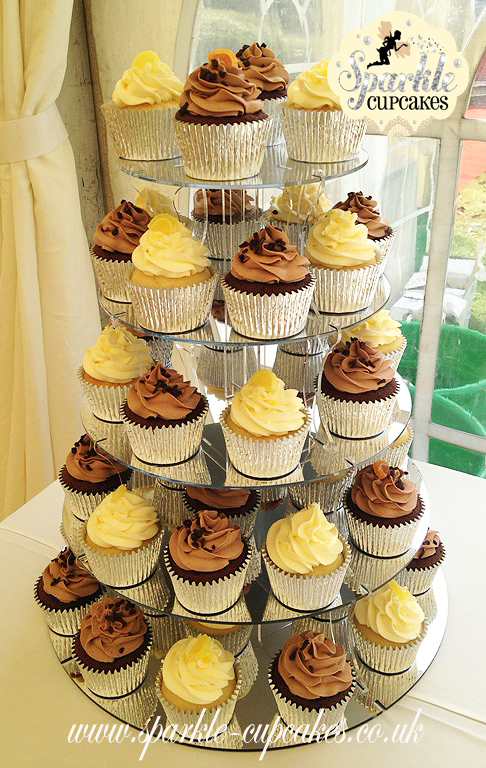 Corporate Cupcake Tower with Lemon and Chocolate Orange Cupcakes